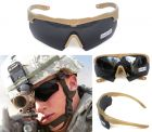 ANSI Z87.1 Combat Tactical Military Ballistic Shooting Sunglasses With 3 Lenses And Hard Case Khaki Color