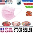 50 Pcs Medical Health Safety Protective Face Mouth Mask 3 Layers Protection In Stock Pink Color